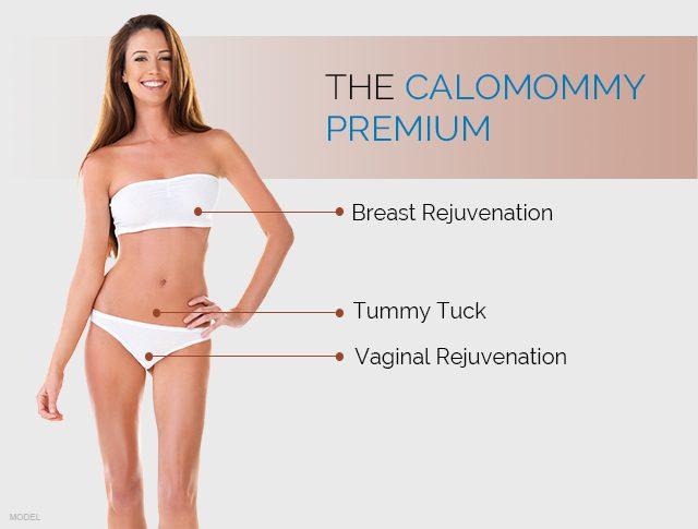 The CaloMommy Premium includes breast rejuventation, tummy tucky, and vaginal rejuventation